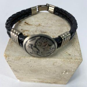 Jewelry - Leather Bracelet/ Bangle Black And Steel